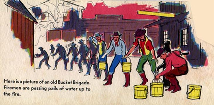 Firemen forming a bucket brigade